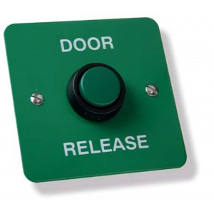 Stainless Steel Door Release Green with Green Button
